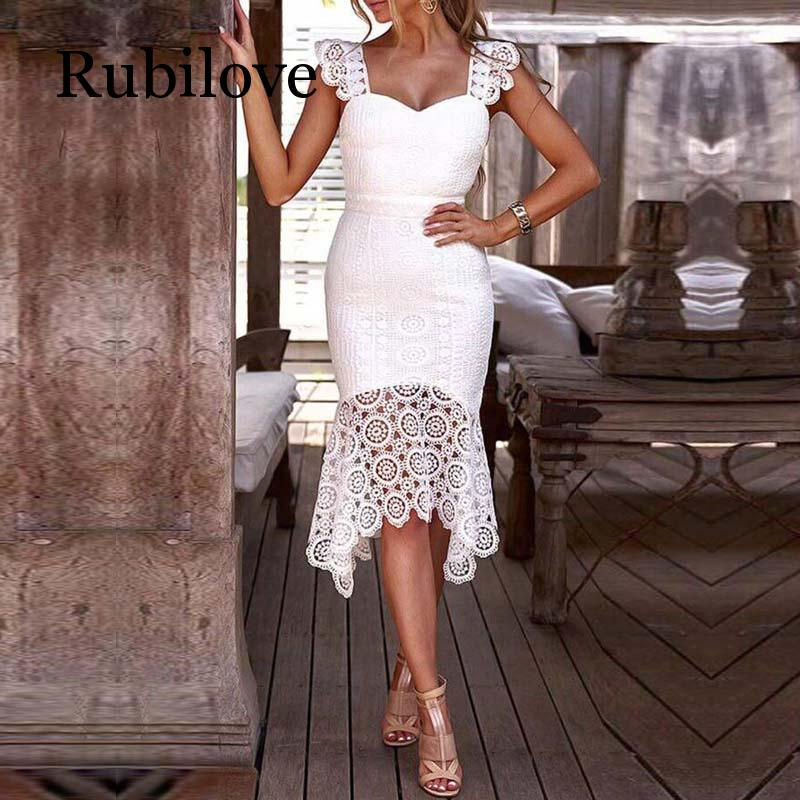 Rubilove Women Hollow Out Crochet Bodycon Lace Dress Solid Sleeveless Knee Length V Neck Elegant Summer Sheath Party Dress in Dresses from Women 39 s Clothing