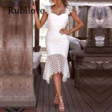Rubilove Women Hollow Out Crochet Bodycon Lace Dress Solid Sleeveless Knee-Length  V-Neck Elegant Summer Sheath Party