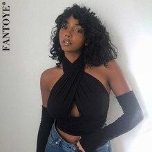 Fantoye-Tops entrecruzado sexys para mujer, Tops cortos con cuello Halter, corte de moda con manga, camisola, camisetas sin mangas ajustadas Y2k con espalda descubierta en color negro