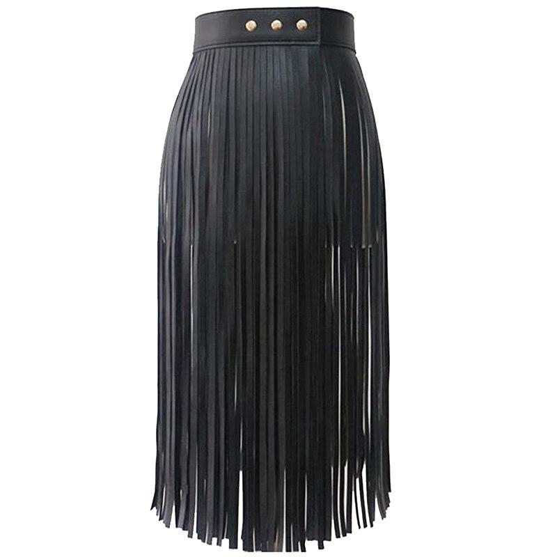 Women's Tassels Leather Skirt Summer Fashion Adjusted PU Long Fringe Skirt Belts Black