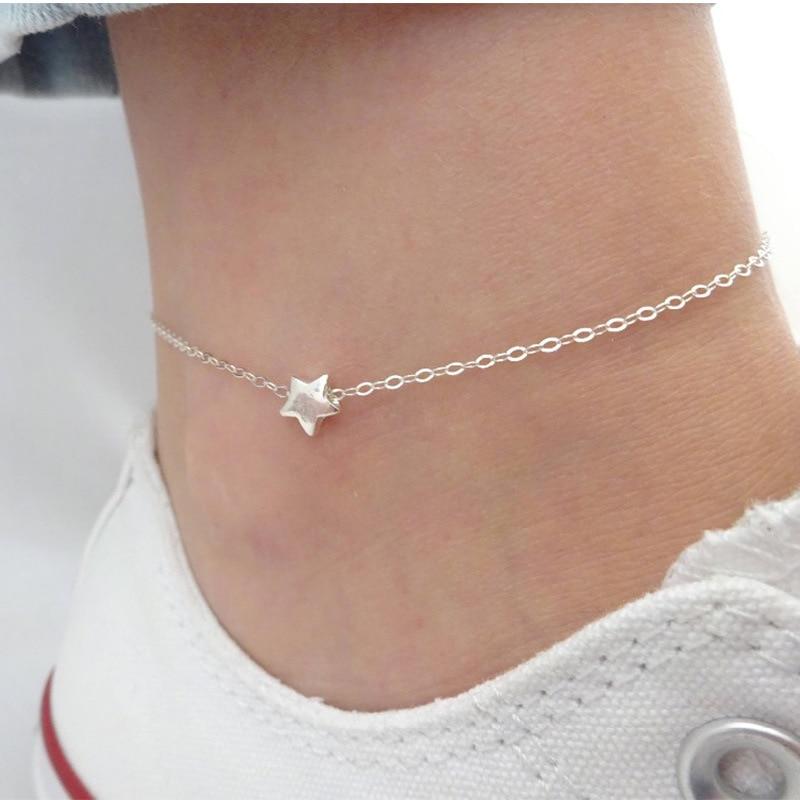 Silver Color Women Anklet Little Star Chain Ankle Bracelet Barefoot Sandal Beach Foot Jewelry
