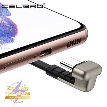 Usb Type C кабель U-образной формы Usbc плоский зарядный провод шнур 90 градусов для Samsung S20 S10 Note 10 A71 A51 Xiaomi Mi 11 Redmi K40 K30
