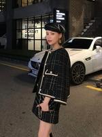 European Style Autumn Winter 2 Piece set short Woolen Tweed Jacket Coat Women Elegant Slim Runway skirt suits