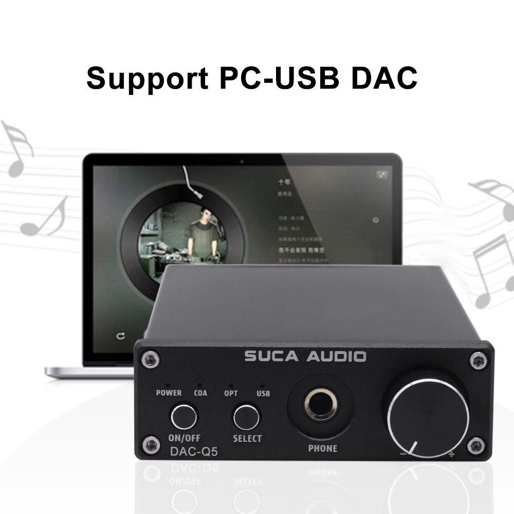 Décodeur DAC SUCA DAC-Q5 casque amplificateur Audio numérique HiFi Audio optique/Coaxial/USB DAC Q5 décodeur avec ampli