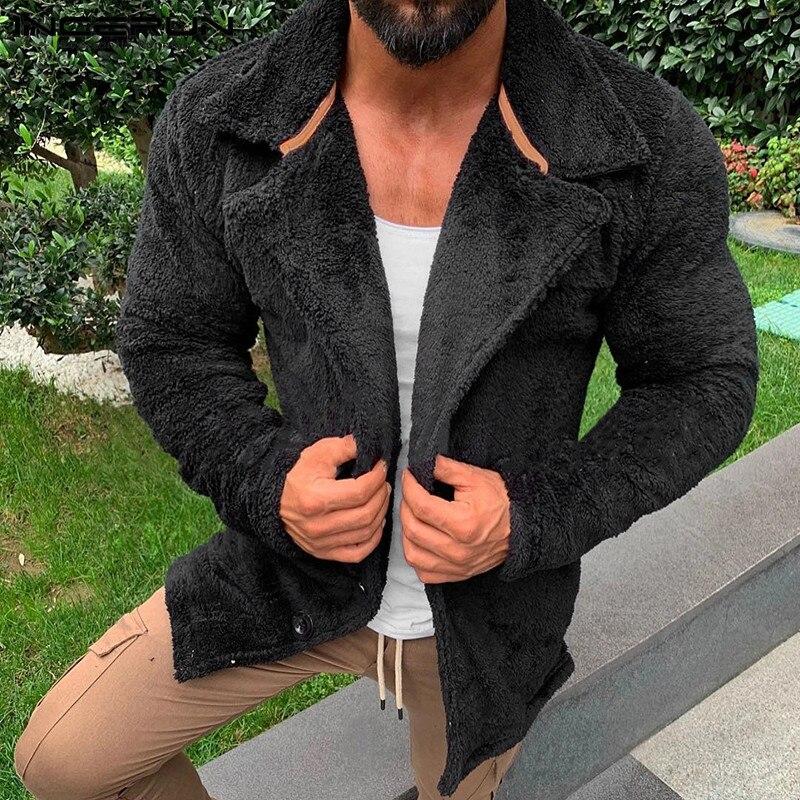 INCERUN мужская осенне-зимняя теплая меховая плюшевая верхняя одежда с длинным рукавом, пальто, уличная одежда, мешковатые Толстые мужские кур...