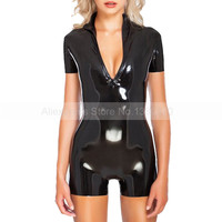Neck In Latex Female Catsuit Rubber Bodysuit Tight Handmade Costumes Suit for Women S LC348
