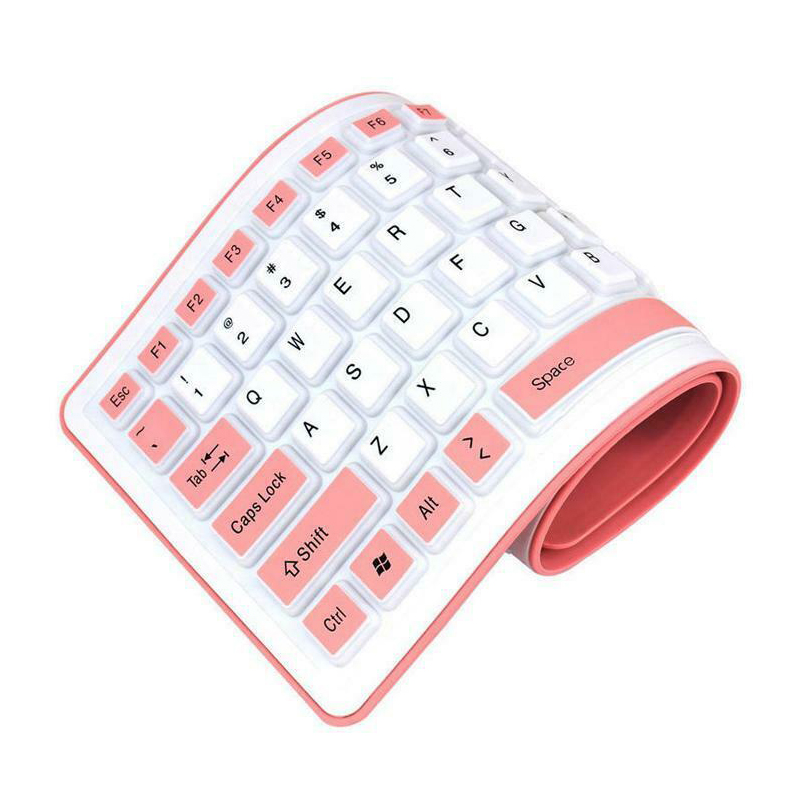 Foldable Silicone Keyboard USB Wired Flexible Soft Waterproof Keyboard Home Office DQ-Drop
