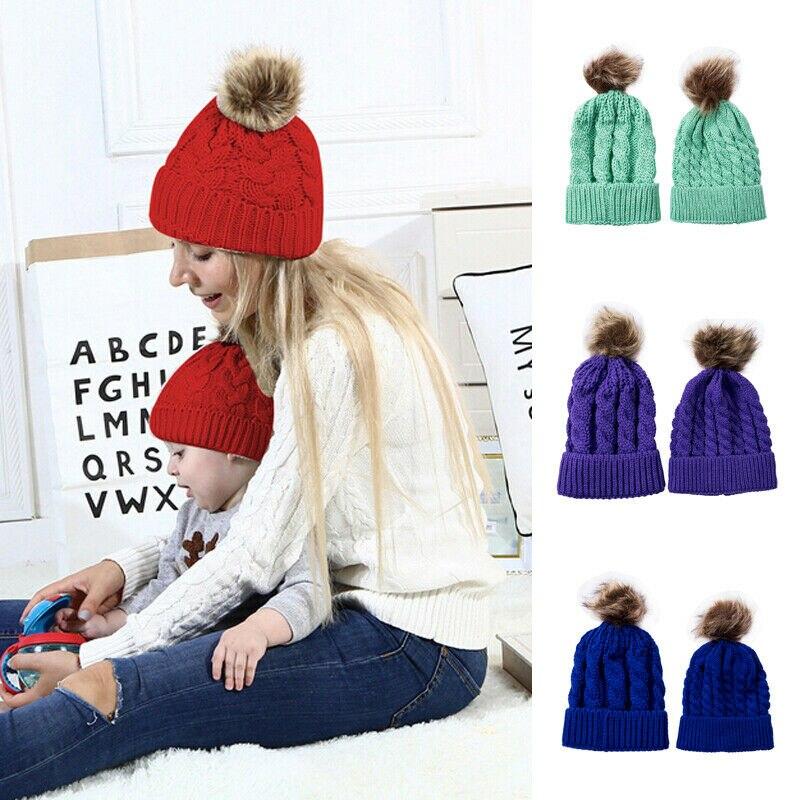 2PCS Mom Mother Baby Knit Pom Bobble Hat Kids Girls Boys Winter Warm Beanie Cap
