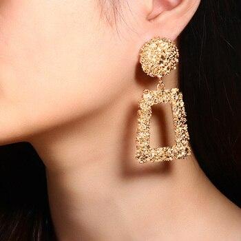 2020 Newest Earrings Gold Drop Earrings For Women Statement Big Geometric Hanging Dangle Earring Vintage Jewelry 5