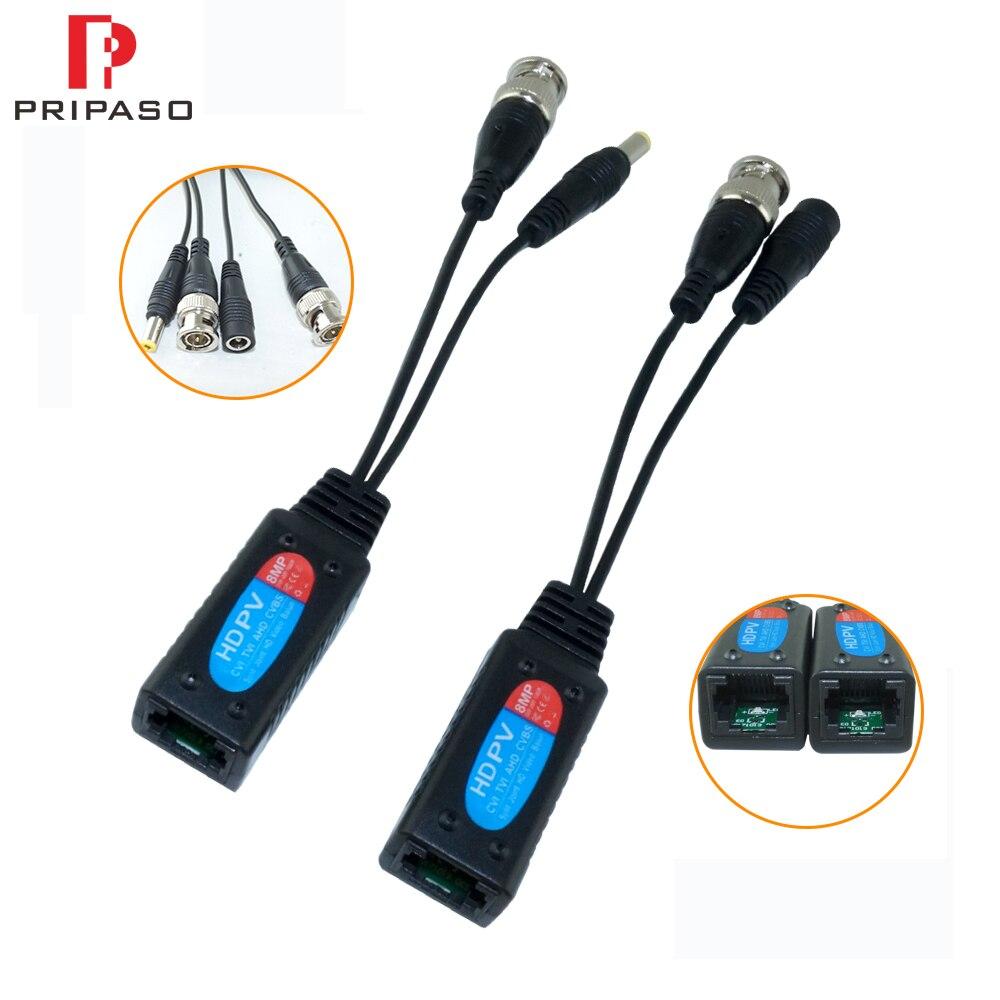 Pripaso 4 Pair (8 Pcs) Passive CCTV Coax BNC Power 8MP Video Balun Transceiver Connectors To RJ45 BNC Male For CCTV Video Camera