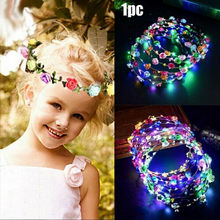 2020 1 pc New Hot Selling baby girl LED Light Up Hair Wreath Hairband Garlands Party Crown Flower Headband glowing wreath(China)