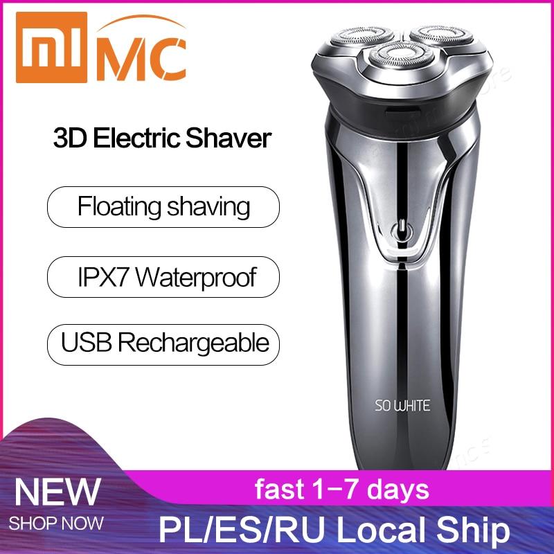 Xiaomi PINJING SO WHITE Electric Shaver Razor Men Washable USB Rechargeable Wireless 3D Smart Control Shaving Beard Machine