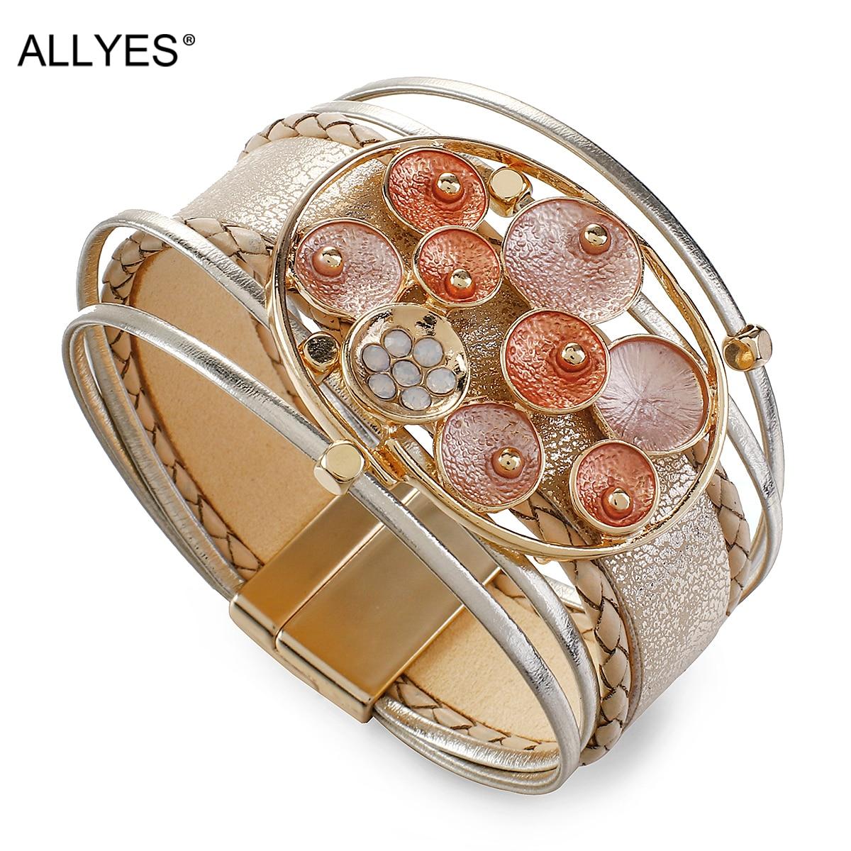 ALLYES Chunky Big Metal Enamel Charm Leather Bracelet for Women Boho Multilayer Braided Wide Wrap Bracelets Fashion Jewelry(China)