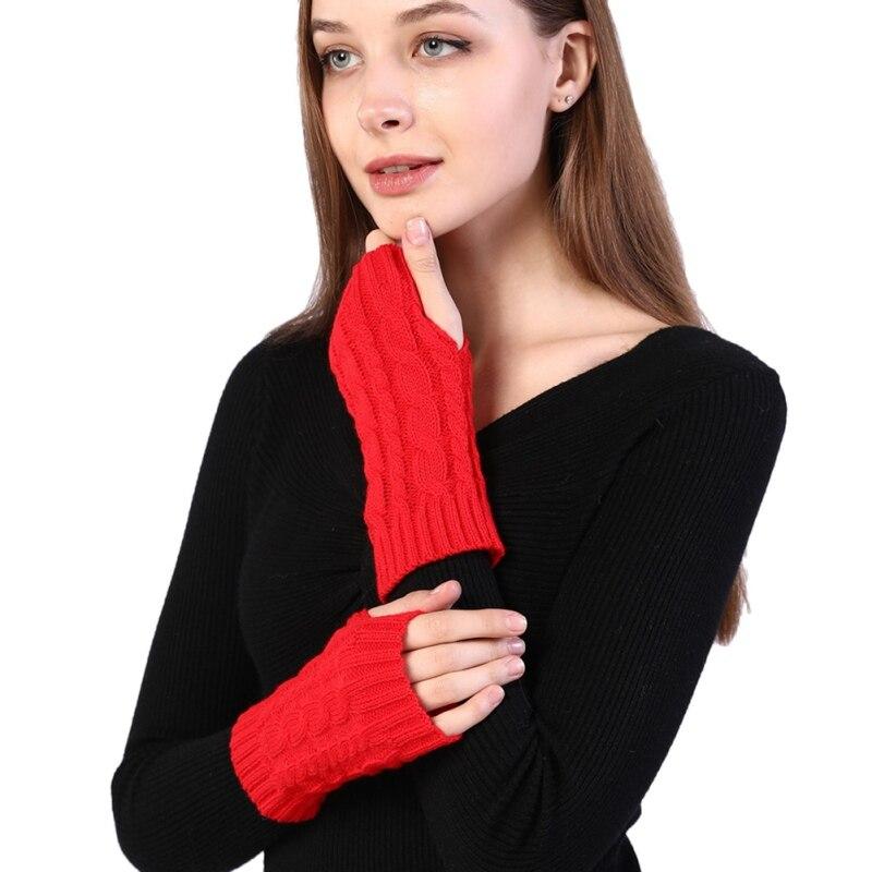 Hemp Pattern Fingerless Wool Gloves Knitted Warm Half Finger Arm Sleeve