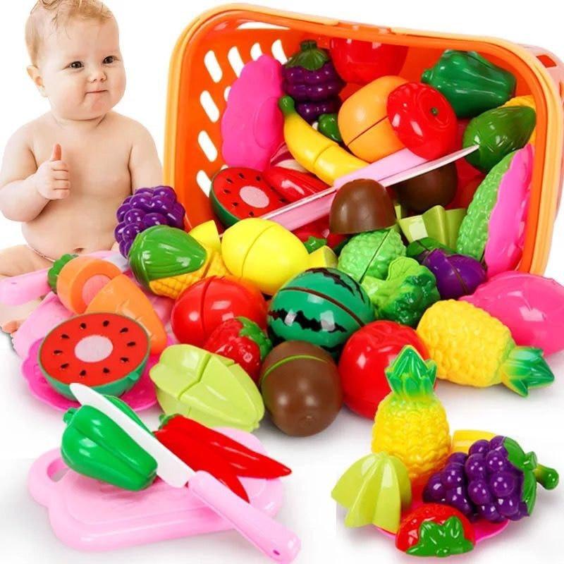 Juego de simulación de comida de plástico para niños, juguetes educativos para niños, cocina, corte de frutas y verduras, 43p