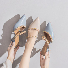 Han Edition Pointed High-heeled Women Summer Fashion Fine With Rivet Baotou Half Dragged The Female30