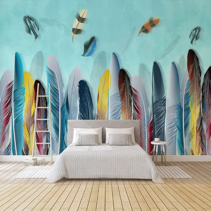 Custom 3D Photo Wallpaper For Bedroom Colored Feather Modern Living Room TV Background Art Wall Painting Wall Papers Home Decor
