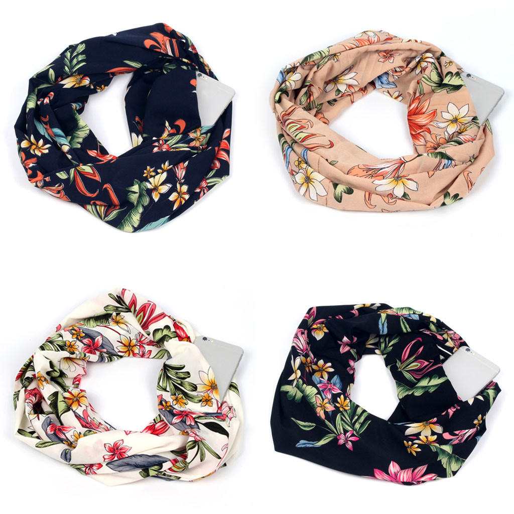 Sleeper #P501 Fashion Women Print Winter Convertible Infinity Scarf Pocket Loop Zipper Pocket Scarves шарф женский Free Shipping
