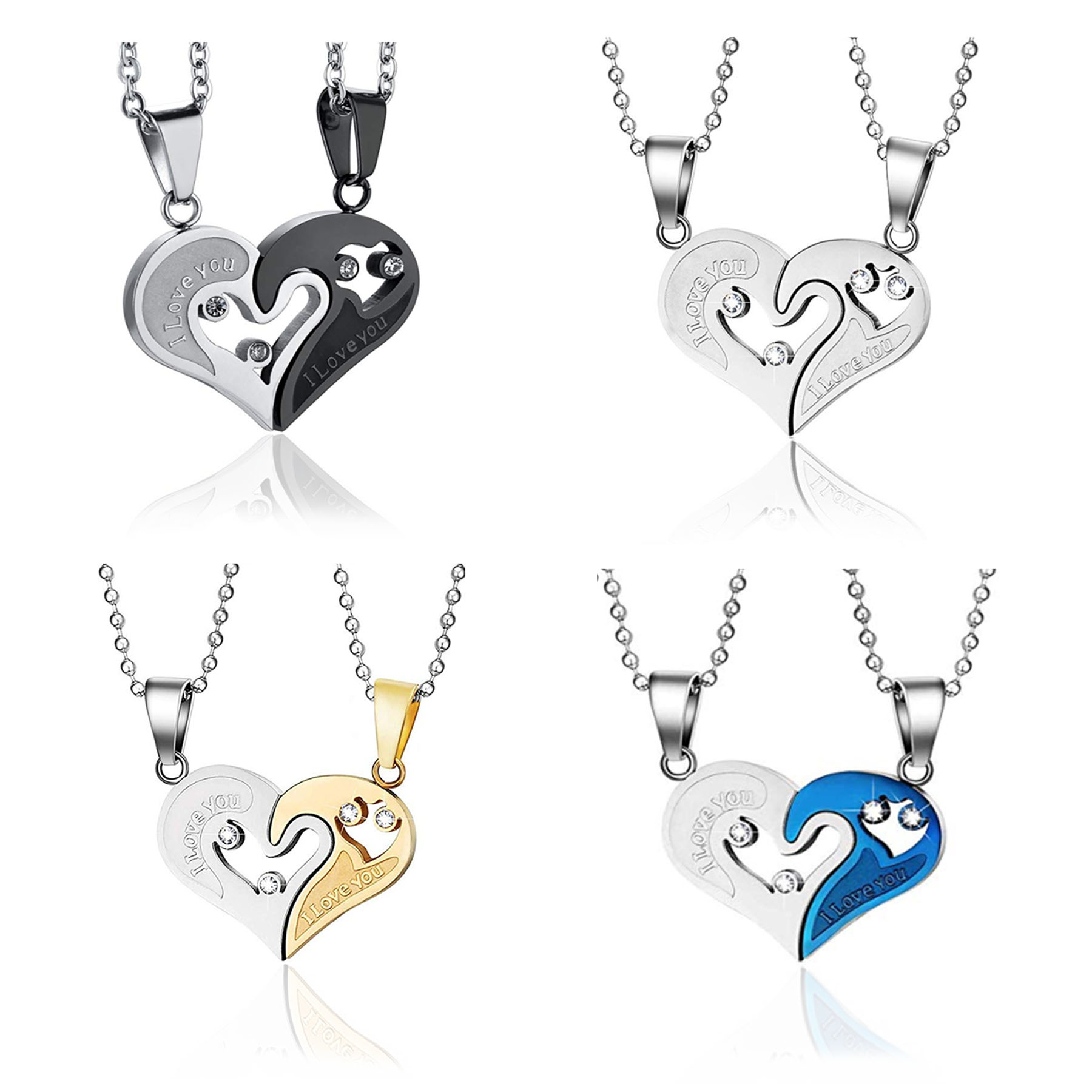 Stainless Steel Mens Womens Couple Heart Shape I Love You Pendant Necklace Unisex Lovers Couples Jewelry Fashion Dropship