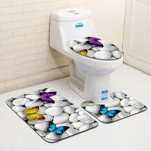3 шт Нескользящие коврики для ванной комнаты с принтом