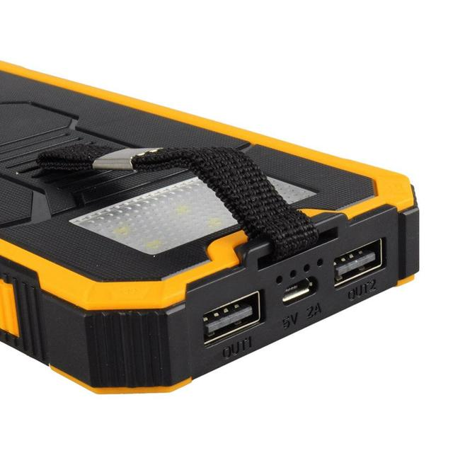 Hot Solar Panel Power Bank External Battery Dual-USB Charger Convenient Camping Lamp Waterproof Shockproof Dustproof Device 3