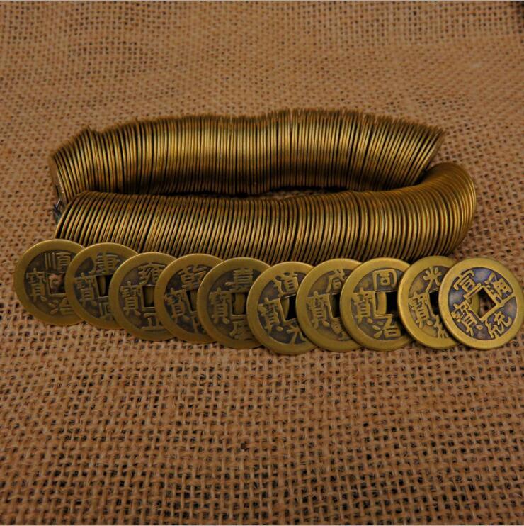 50 unidades por juego, 23mm chino de monedas de cobre, moneda antigua de la dinastía Qing, efectivo Retro coleccionable, regalo de recuerdo curio