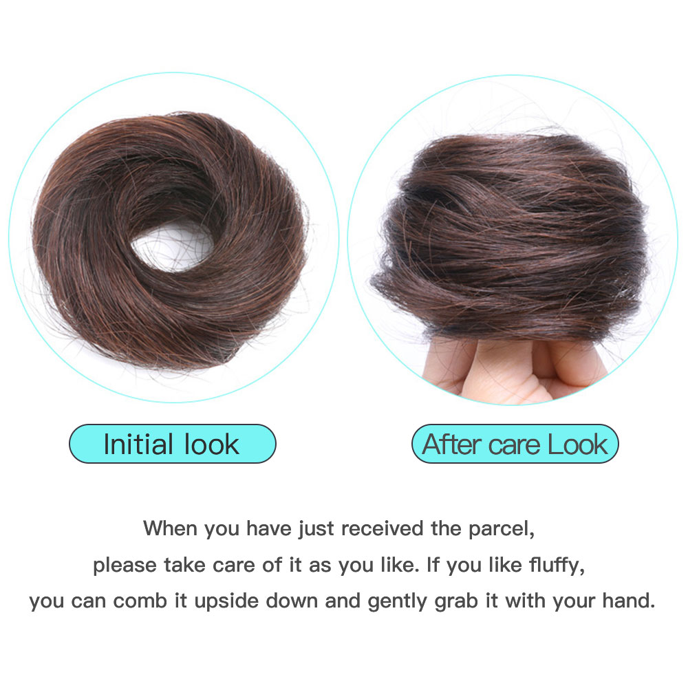 Salonchat Donut Chignon Hot Women Remy Human Hair Bun Donuts Ring Brown Black Hair Extension Wig 4 Colors Brazilian Hair Pieces