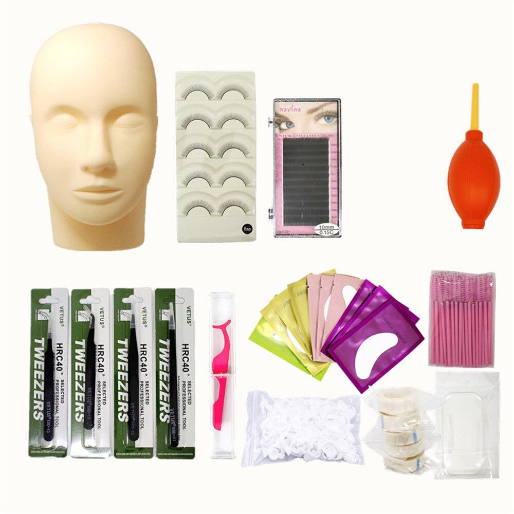 Silicone Mannequin Model Head Eyelash Extension Training Set Practice Mannequin Head Set Lashes Training Head Tool Eyelash Tools