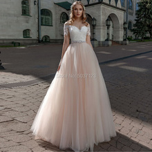 Champagne Short Sleeves Wedding Dresses with Train A Line Vestido De Novias 2019 Lace Appliques Tulle Bridal Gowns for Bride