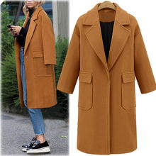 Winter Coat Women Winter Lapel Wool Coat Trench Jacket Long Overcoat Outwear Wool Blend Women Coat Moda Feminina Long Coat(China)