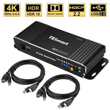 HDMI KVM Switch 2 Port 4K Ultra HD 2x1 HDMI KVM Switcher with 2 Pcs 5ft KVM Cables Supports Mechanical and Multimedia KVM USB2.0 кабель kvm lenovo 3m msas hd to msas hd 00mj180