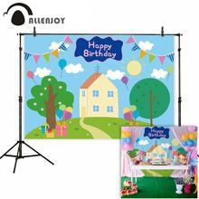 Allenjoy fotografía de fondo para fiesta de cumpleaños, fotofono con dibujos de cerdo, banderas, casa, árbol, hierba, niños, familia