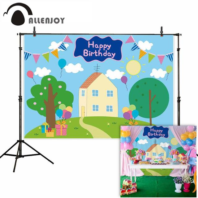 الأعلام الكرتونية لأعياد الميلاد من Allenjoy وهي عبارة عن شجرة على شكل الخنزير وأعلام على شكل منزل وعشب لحفلات الأطفال والعائلة وخلفية للتصوير الفوتوغرافي