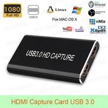 HDMI فيديو بطاقة التقاط الصوت والفيديو USB 3.0 لأجهزة الكمبيوتر المحمولة ويندوز/لينكس/ماك HDMI إلى USB 3.0 التقاط