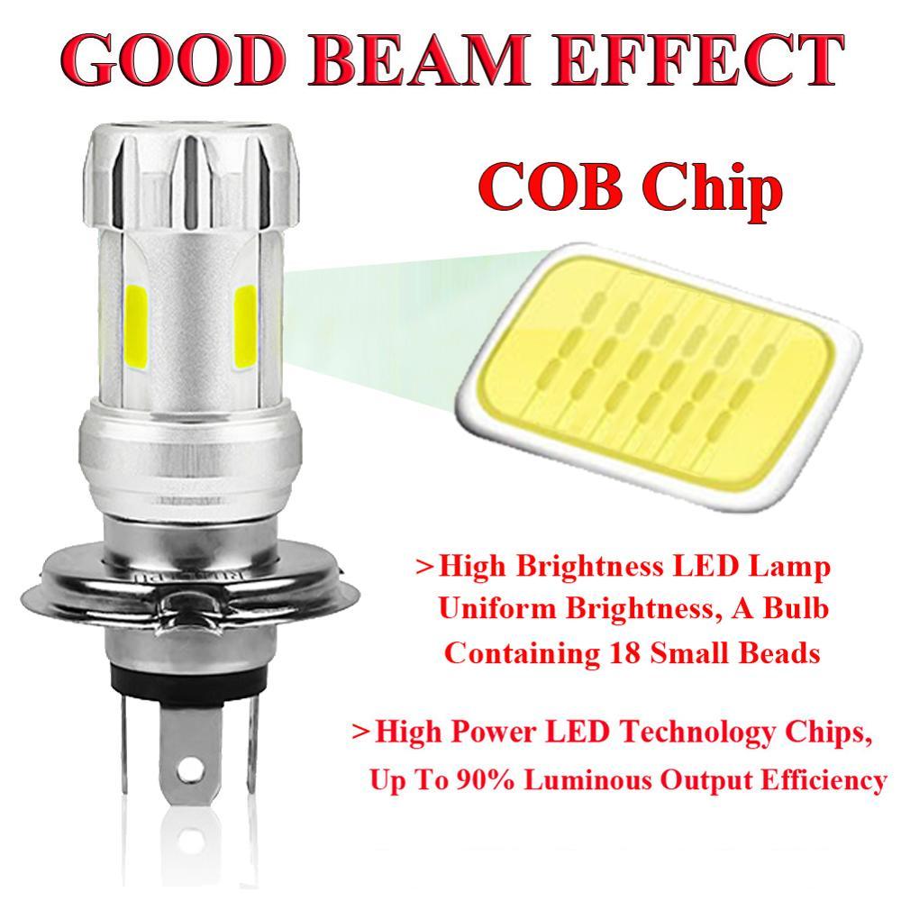 Motorcycle Headlight Bulbs H4 White 36W LED Lamps COB 6000K Motor Bike DC 12V Headlamp 3