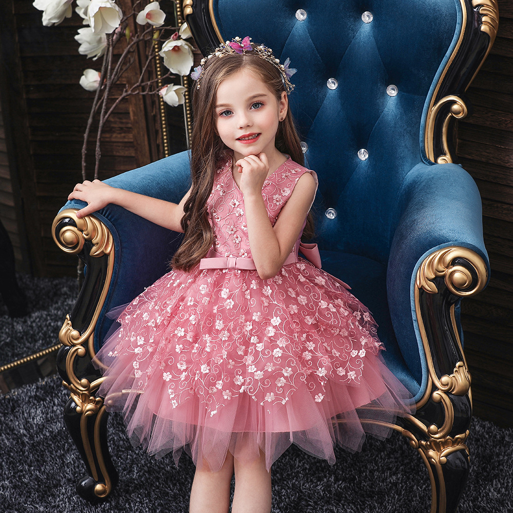 Girls Dress Irregular Summer Infant Hundred Days Birthday Wash Formal Dress Baby Mesh Dress Small CHILDREN'S 0-5-Year-Old Prince