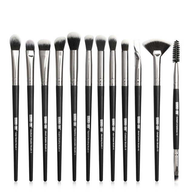 Pro Makeup Brushes Set 6/ 12 pcs Eye Shadow Concealer Blending Eyeliner Eyelash Eyebrow Blush Brushes Portable Eye Brush Set 2