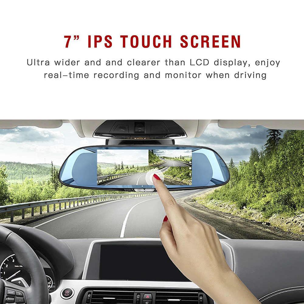 7 Inch Sentuh Layar Mobil DVR Dual Lensa Kamera Belakang Cermin Perekam Video Dash Cam Auto Video Recorder Parkir dash Cam