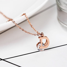 2019 Rushed Moana Collares Kolye New D Letter And Rose Pendant Necklace Stainless Steel High Polished For Women Accessories