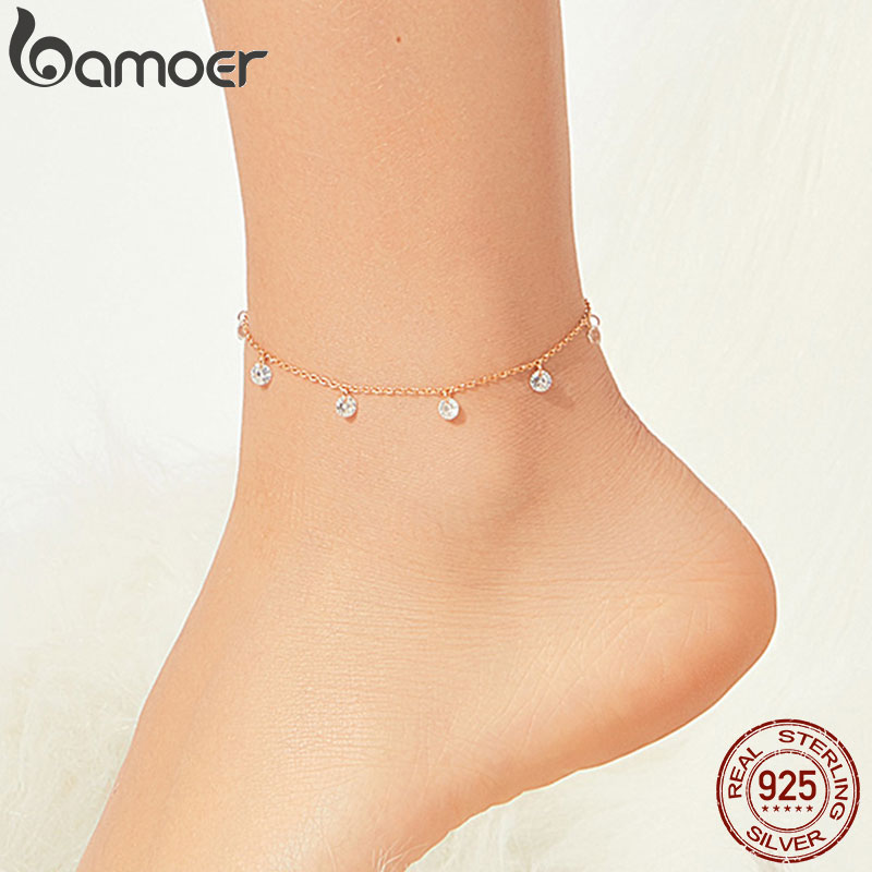 bamoer 925 Sterling Silver Cubic Zirconia Rose Gold Color Chain Anklets for Women Bracelet for Foor Holiday Jewelry SCT015