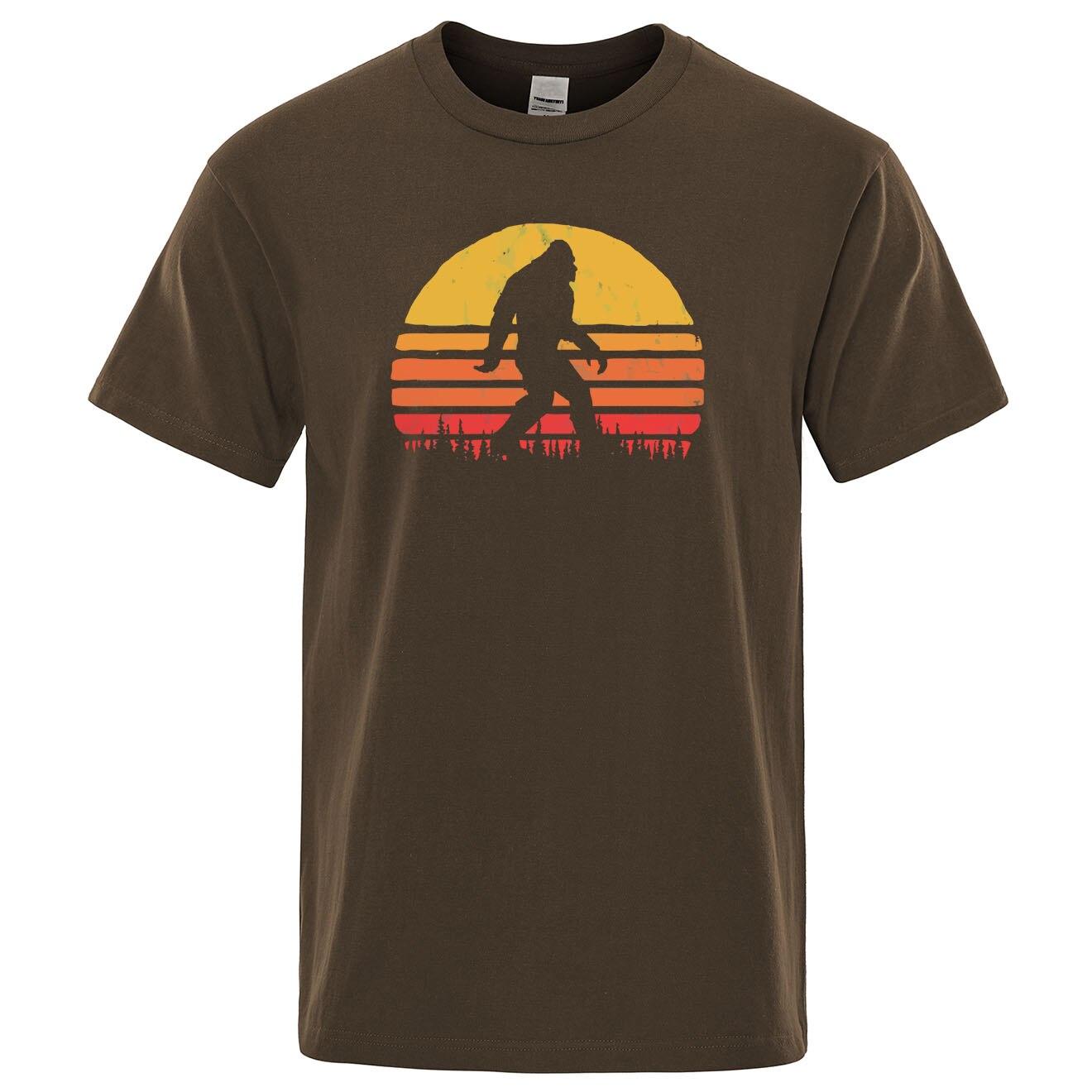 Retro Bigfoot Silhouette Sun Vintage - Believe! T-shirt Men Short Sleeve 2019 Summer Cotton Brand Tops Casual Funny Tee Shirt