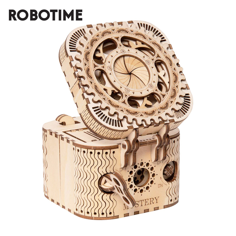 Robotime ROKR 3D Wooden Puzzle Storage Box Password Treasure Box Model Building Kit Toys For Children LK502 Drop Shipping