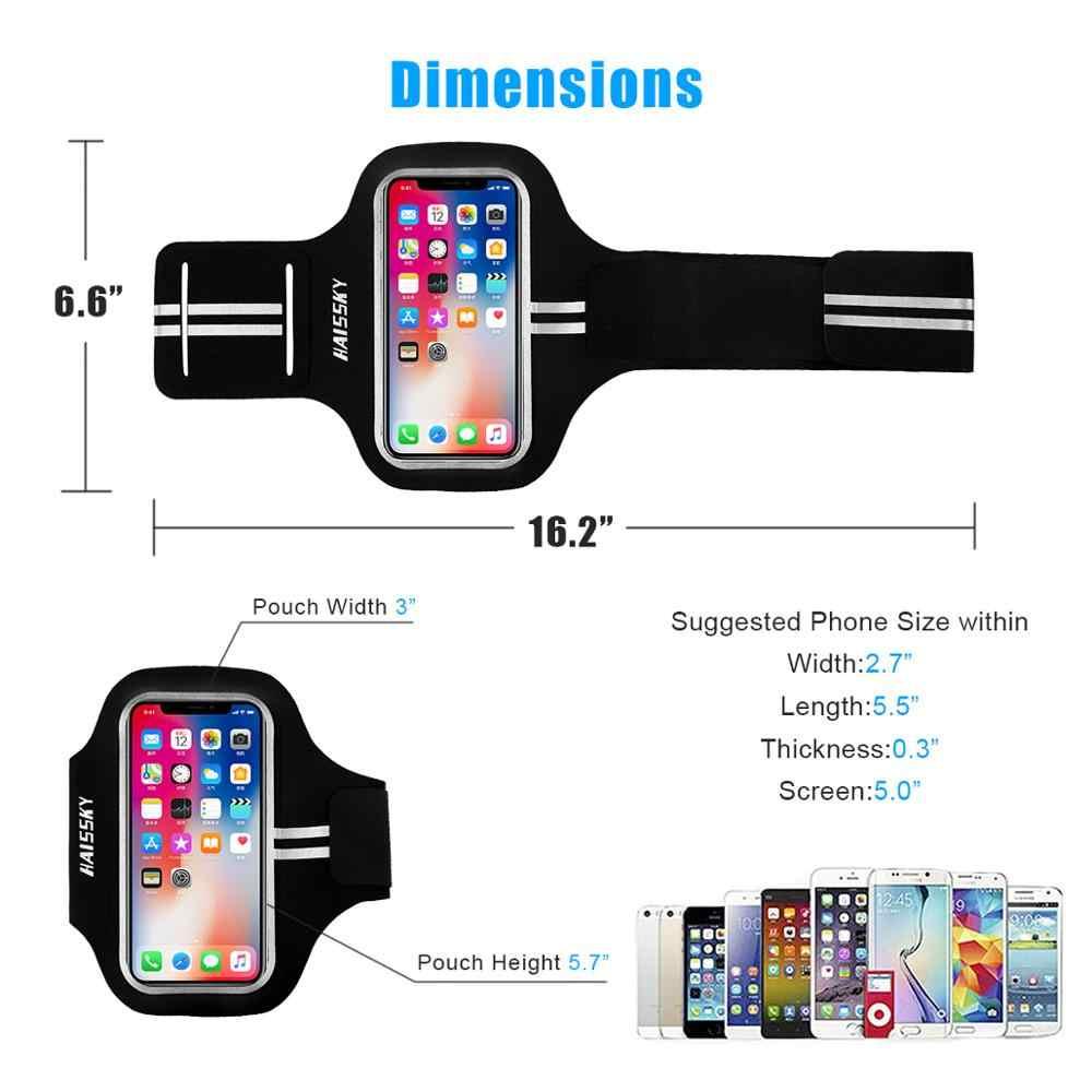 Haissky GYM Running Sport โทรศัพท์กรณีมือถือผู้ถือ Brassard ARM Band สำหรับ iPhone X XS 8 7 6 6s 5S Huawei Armbands กระเป๋า