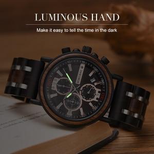 Image 2 - BOBO BIRD 맞춤형 나무 시계 남성 Relogio Masculino 최고 브랜드 럭셔리 크로노 그래프 밀리터리 시계 기념일 선물