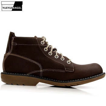 2019 Hot Sale Autumn Men Boots Anti Slip Comfort Breathable For Men Ankle Motorcycle Boots Genuine Leather Shoes Lace Up Brown