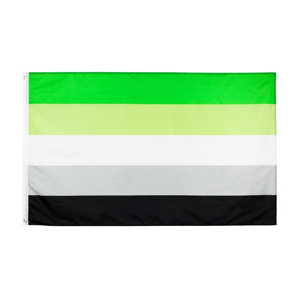 Johnin 90X150cm LGBTQIA романтическая направленная ароматическая гордыня флаг