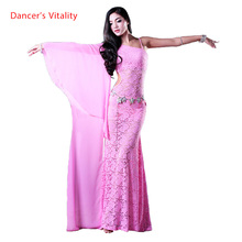 여자 배꼽 춤 의류 단일 레이스 댄스 드레스 여성 배꼽 춤 드레스 레이디 패션 드레스 M/L 댄스 의류