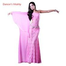 Vêtements de danse du ventre pour filles, robe simple en dentelle, tenue à la mode pour femmes