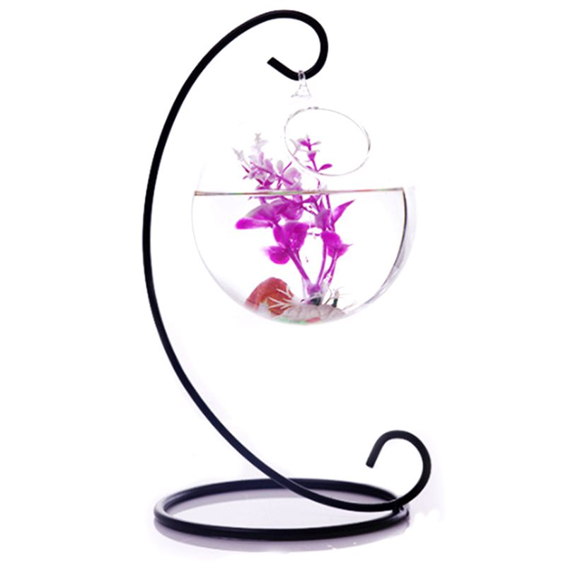 HOT Globe Hanging Glass Vase 10 Cm + Iron Support 23 Cm Height Decoration For Garden House