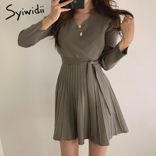 Syiwidii Dress Winter Clothes A-Line Office Lady Women Elegant Fashion Autumn Female